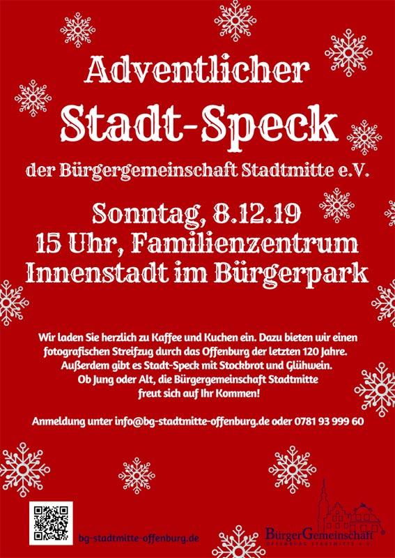 Plakat adventlicher Stadt-Speck