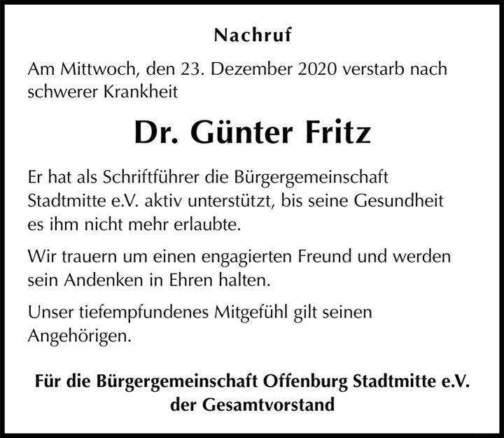 Nachruf Dr. Günter Fritz